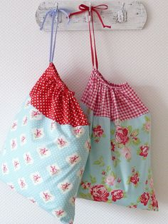 Retro Laundry Bag Lingerie Bag Large Red Polka and Roseprint blue by PeriDotbyDuni, $25.00