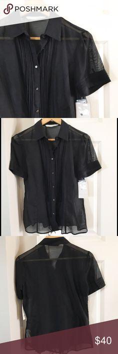 NWT Zara Sheer Blouse NWT Zara black sheer blouse with gorgeous pleated details. Cotton/silk blend. Zara Tops