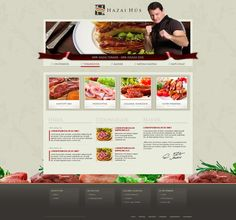 Hazai Hus weboldal terv by VictoryDesign on DeviantArt.  A butcher's shop online if i'm reading this right. Good pics of fine cut meats under a navigation bar which is decorated with a shiny ribbon. Not sure why there is an MMA fighter at the header but he might be this Hazai-Hus the site is about. Good border space but the food decorations at the footer gets covered by the day's specialties which could make it distract focus.