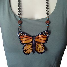 """Monarch Butterfly """"Mariposa"""" necklace, original art, glass, turquoise, crystals, vintage chain by Lonesome Road Studio. www.LonesomeRoadStudio.com"""