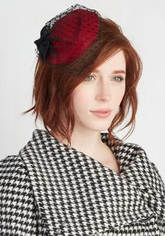 Sweetest Spread Fascinator in Crimson. From gumdrops to petite cupcakes, todays dessert table is completely bedecked - like you are in this bow-topped fascinator! #red #modcloth