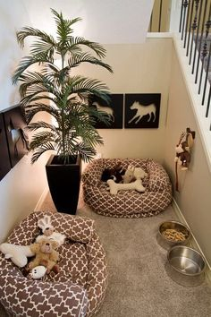 "Dog Room Under the Stairs. Too cute! Beau and all my future fur babies will have their own little ""home"" #decorateyourspace"