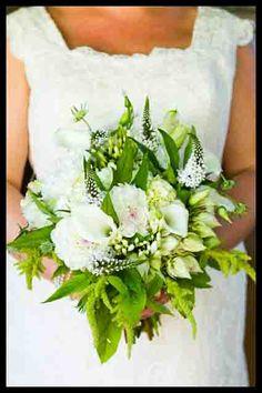 white brides bouquet with calla lillies, hydrangea, white veronica...