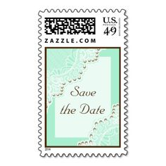White lace with pearls mint wedding Save the Date Postage Stamps