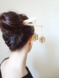 Byzantine princess- Bridal luxury gold plated brass filgree geisha hair sticks. $39.00, via Etsy.