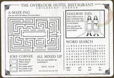 amazing. Overlook Hotel Restaurant kids menu, from The Shining
