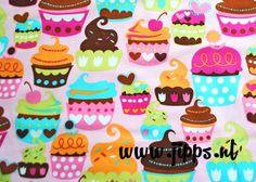 Cupcakes, stof van Michael Miller Fabrics, Verkrijgbaar via www.jipps.nl.