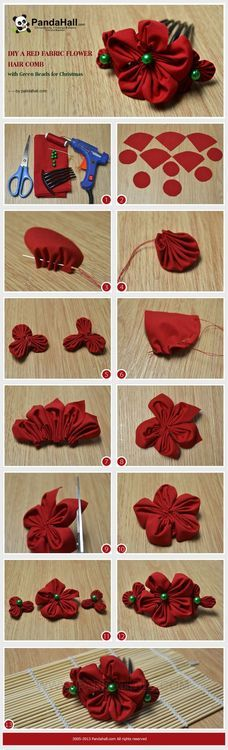 Jewelry Making Tutorial-DIY Red Fabric Flower Hair Comb with Green Beads for Christmas Ribbon Crafts, Flower Crafts, Ribbon Bows, Ribbons, Flowers In Hair, Fabric Flowers, Flower Hair, Kanzashi Flowers, Gift Bows