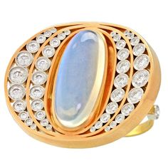 """Alchemy Collection """"Moon and Stars"""" Moonstone Gold Platinum Ring   From a unique collection of vintage fashion rings at https://www.1stdibs.com/jewelry/rings/fashion-rings/"""