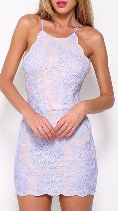 Halter Backless Lace Dress ❤︎