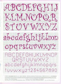 cross stitch alphabet nice curly easy to read -- looks easy to do by Renata Bari. - cross stitch alphabet nice curly easy to read — looks easy to do by Renata Barillari - Cross Stitch Alphabet Patterns, Embroidery Alphabet, Cross Stitch Letters, Cross Stitch Samplers, Cross Stitch Charts, Cross Stitch Designs, Cross Stitching, Cross Stitch Embroidery, Embroidery Patterns