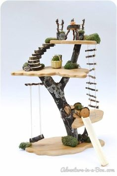 Fairy Tree House: Natural Wooden Doll House Toy by adventureinabox on Etsy Fairy Tree Houses, Fairy Garden Houses, Fairy Gardens, Diy Fairy House, Gnome Garden, Fairy Garden Furniture, Diy Garden Toys, Cat Furniture, Toy Trees