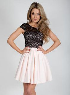 Nude & Black Lace Skater Dress with Cap Sleeves Back