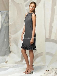 different grey halter sleeveless cocktail length chiffon bridesmaid dress with origami trim at hem $154.85 US$