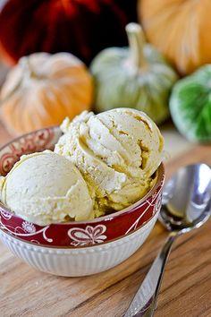 Pumpkin Frozen Yogurt #recipe @Jackie Godbold Cuervo and @Candace Renee Colucci ...sounds like a desert we need to share!