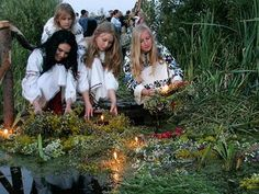 The pagan solstice celebrations (Ivan Kupala night) are typical not only for Russia, but many Eastern European countries. The dates vary, but the not usually astronomically correct. In Russia it takes place on the night between 23 and 24 of June. Girls send the wreaths with candles floating down the river - if the wreath floats, you'll marry your lover; if it sinks - well... ;)