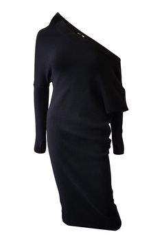 TOM FORD Black Off Shoulder Cashmere and Silk Blend Midi Dress (M)