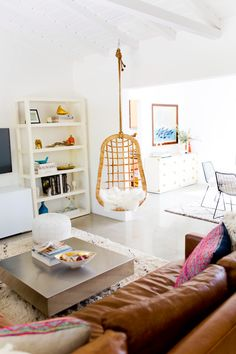 Living room of Palm Springs Vacation Rental The Mora house, via A House in the Hills #living #room #space #bright #white #light #interior #home #style