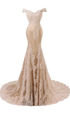 Awesome Himoda Women's V Neckline Beaded Evening Gowns Mermaid Lace Prom  Dresses Long Champagne