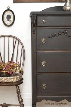 Vintage Dresser Painted in Dixie Belle Caviar Black