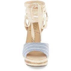 """Sole Society 'Sena' Espadrille Wedge, 4 1/4"""" heel ($70) ❤ liked on Polyvore featuring shoes, sandals, platform sandals, wedge espadrilles, high heel wedge sandals, espadrille wedge sandals and ankle strap wedge sandals"""