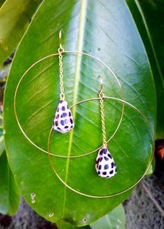Drop Chain Hawaiian Hebrew Cone Hoops.