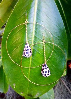 Drop Chain Hawaiian Hebrew Cone Hoops.