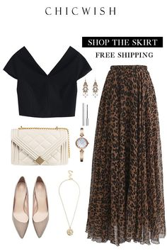 Leopard Watercolor Maxi Skirt - Summer Outfits for Work Look Fashion, Skirt Fashion, Unique Fashion, Fashion Dresses, Womens Fashion, Fashion Trends, Classy Outfits, Chic Outfits, Spring Outfits