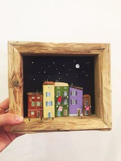 3D Driftwood picture frame with tiny houses from driftwood