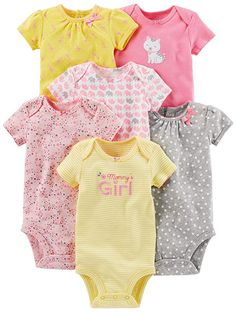 Baby Girl Clothes Simple Joys by Carter's Baby Girls Short-Sleeve Bodysuit, Pink/Yellow, Newborn Mommys Girl, Carters Baby Girl, Baby Outfits, Children Outfits, Embellished Bodysuit, Little Girl Fashion, Cute Baby Clothes, Carters Baby Clothes, Trendy Baby
