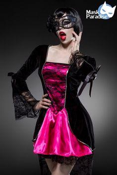 - hochwertiges Vampir-Kostüm - edles Kleid aus Samt und Spitze - mit Pailletten…