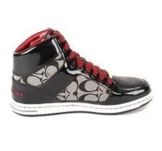 black and red coach high tops