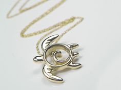 Sea Turtle Necklace 14kt Yellow Gold Turtle by FantaSeaJewelry