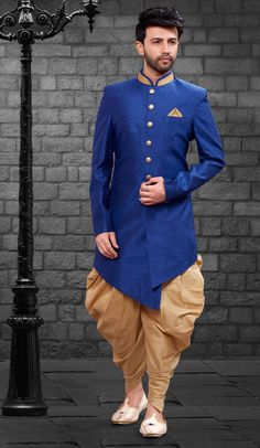 Royal Blue Color Imported Silk Designer Indo Western Mens Wear is part of Groom dress men Add a young burst of colour inside your wardrobe with this Royal Blue Color Imported Silk Desig - Wedding Dresses Men Indian, Wedding Dress Men, Wedding Suits, Kurta Pajama Men, Kurta Men, Indian Men Fashion, Mens Fashion Suits, Kids Dress Wear, Men Dress