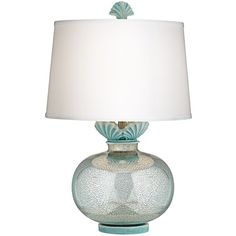Kathy Ireland Home Paradise Falls Turquoise Table Lamp ($179) ❤ liked on Polyvore featuring home, lighting, table lamps, grey, kathy ireland table lamps, seashell lights, turquoise lamp, gray lamp and kathy ireland lamps