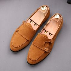 Men's Handmade Brown Suede Loafers, Men Dress Slip On Double Monk Strap Shoes sold by Shop more products from on Storenvy, the home of independent small businesses all over the world. Brown Suede Loafers, Suede Leather Shoes, Soft Leather, Cowhide Leather, Loafer Shoes, Loafers Men, Double Monk Strap Shoes, Custom Design Shoes, High Ankle Boots