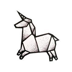 Dessin tatouage licorne en origami Plus