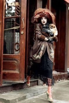 1920s, agyness deyn, brown, cafe, dog, editorial