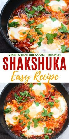 Shakshuka: The Origin and an Easy, Healthy Recipe! This one pan Shakshuka is bursting with aromatic spices, flavour and nutrients. Serve with bread. Healthy Breakfast Recipes, Easy Healthy Recipes, Healthy Vegetarian Dinner Recipes, Healthy Vegetarian Breakfast, Healthy Breakfasts, Quick Weeknight Meals, Easy Meals, Shakshuka Recipes, Easy Shakshuka Recipe