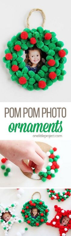Make these pom pom Christmas photo ornaments to display your pictures on your tree for years to come, or give as a gift! It is super easy that even your kids can get involved! #christmascraftsforkids