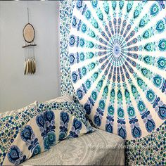 This blue and white mandala tapestry has so many uses! Whether you use it as a beach blanket, wall decor or a bed sheet, you will love it. These mandala tapestries also make wonderful boho wedding dec