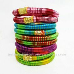 Multicolor Silk Thread Bangles Set Of 10 Wrapped Bracelets Girls Jewelry India.