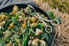 Warm Baby Potato Salad With Handmade Pesto — Farm to Fork Baby Potato Salad, Ella Vegan, Baby Potatoes, Baby Warmer, Paella, Pesto, Fork, Green Beans, Roast