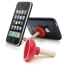 iPlunge™ emergency iPhone stand quickly suctions to the back of cell phones or MP3 players to create a strong, durable support for conversing, watching movies/videos, and reading emails hands-free. Use anywhere, anytime. Great gag gift for handymen, contractors, plumbers and bosses with a sense of humor.