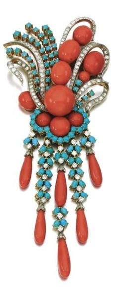 Coral, Diamond and Turquoise Brooch
