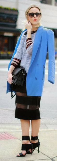 Love this street style...love the skirt and shoes, great blue blazer coat
