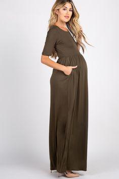 Olive Short Sleeve Pleated Maxi Dress