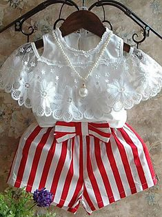 Summer Girls Clothing Sets Bud Silk Lace Short Sleeves + Red Stripe Shorts Children's Clothing Source by firstlookcollective Cheap Girls Clothes, Dresses Kids Girl, Kids Outfits Girls, Toddler Outfits, Girl Outfits, Baby Frocks Designs, Kids Suits, Matching Family Outfits, Outfit Sets