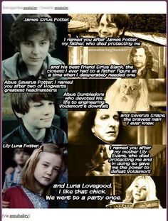love this and Ginny knew and liked Sirius Dumbledore Luna and snape and she most likely liked his parents names I mean lily and james I like them