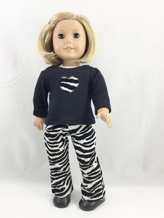 Fits 18 girl doll body types - T-Shirt and pants.  The pants are made from a corduroy Zebra print corduroy fabric. They are a slim boot cut and
